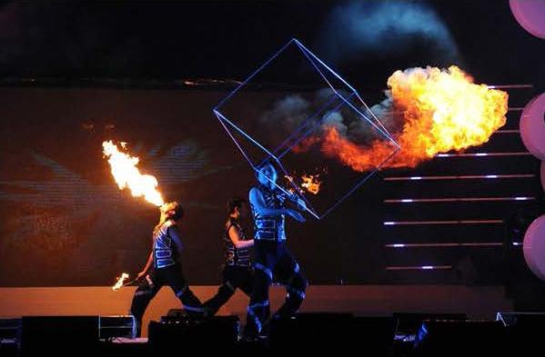 3 men in fire performance royal albatross