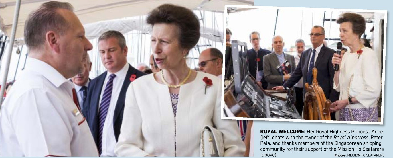 Princess Anne on board Royal Albatross