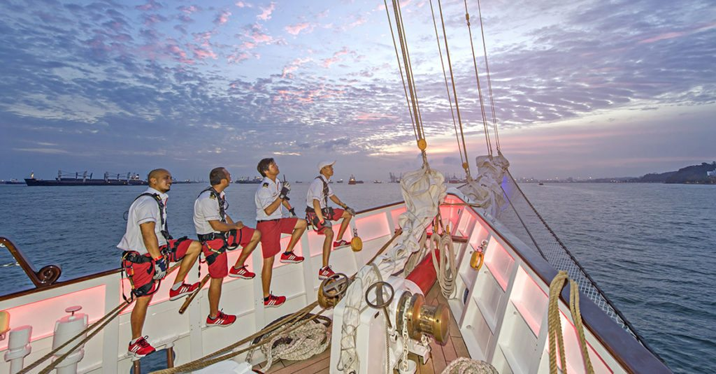 crew on the upper deck of royal albatross