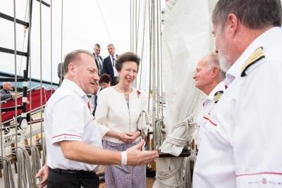 welcoming princess anne onboard royal albatross