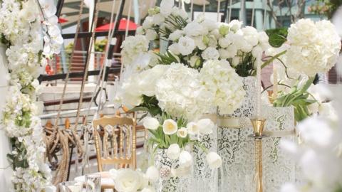 wedding arrangement with white flowers royal albatross