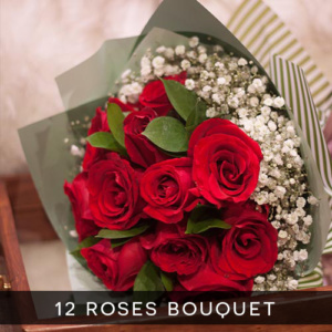 12 roses bouquet royal albatross