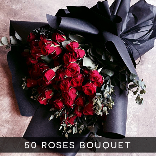 50 roses bouquet royal albatross