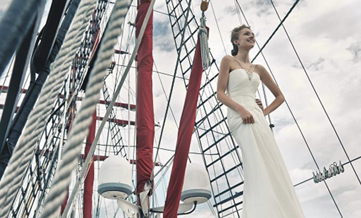 bride smiling on ship royal albatross