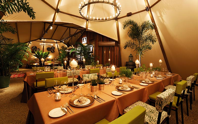 fine dining venue set up in night safari royal albatross