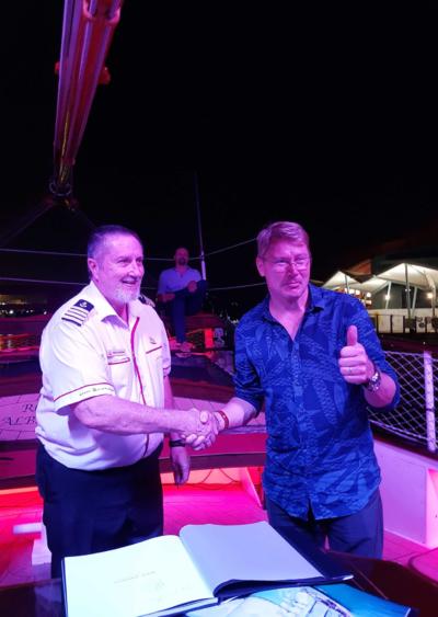 Captain Duncan with F1 champion Mika Hakkinen